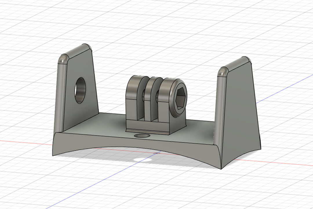 Image of the GoPro 8 Cookie G4 cutaway mount CAD design
